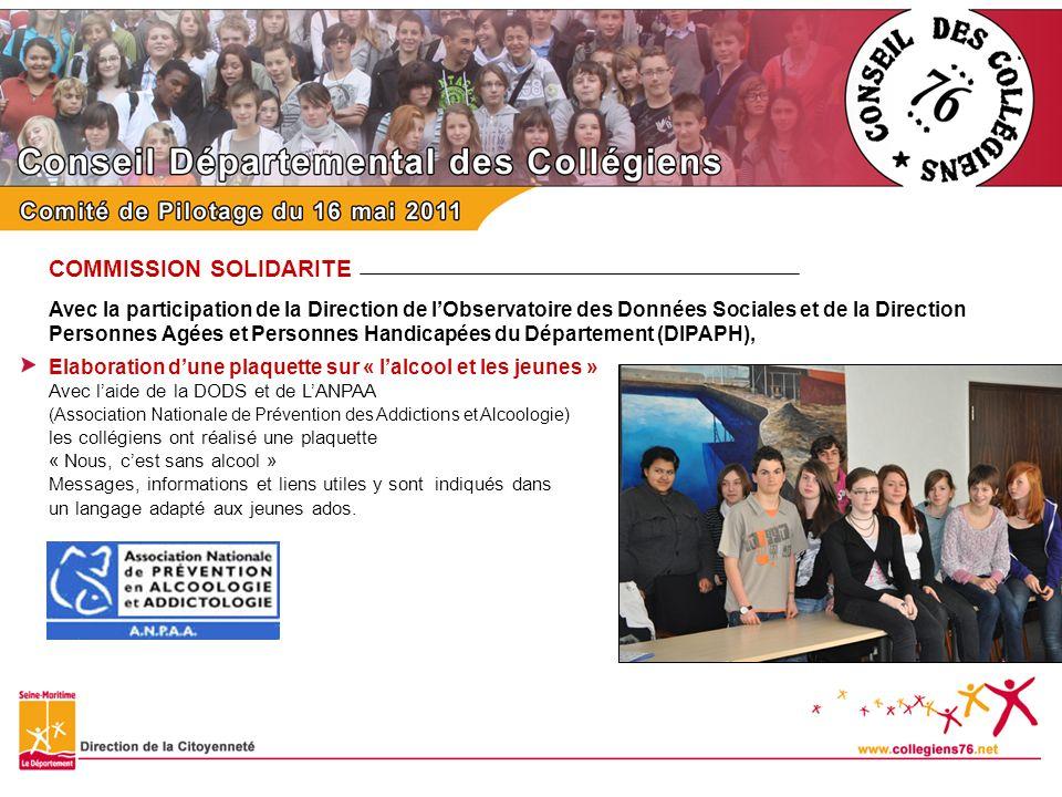 COMMISSION SOLIDARITE Avec la participation de la Direction de lObservatoire des Données Sociales et de la Direction Personnes Agées et Personnes Hand