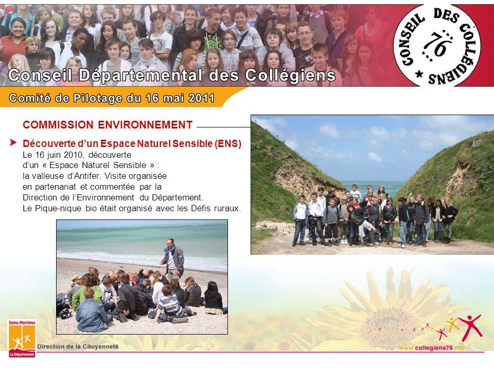 COMMISSION ENVIRONNEMENT Découverte dun Espace Naturel Sensible (ENS) Le 16 juin 2010, découverte dun « Espace Naturel Sensible » : la valleuse dAntif