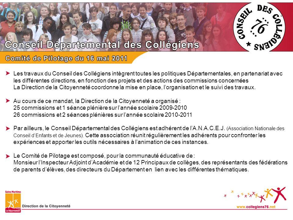 Les travaux du Conseil des Collégiens intègrent toutes les politiques Départementales, en partenariat avec les différentes directions, en fonction des