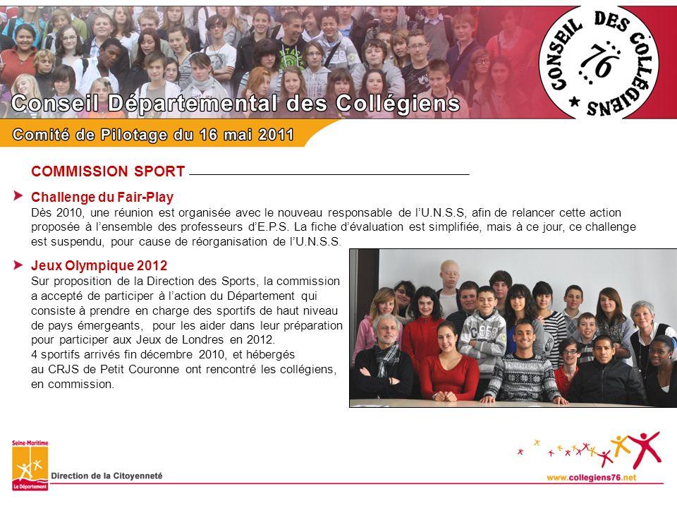 COMMISSION SPORT Challenge du Fair-Play Dès 2010, une réunion est organisée avec le nouveau responsable de lU.N.S.S, afin de relancer cette action pro