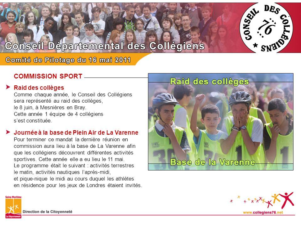 COMMISSION CULTURE Participation de la Direction de la Culture Normandie-Impressionniste Afin de participer à la grande fête de limpressionnisme de 2010, les collégiens ont réalisé un grand quizz, sur ce mouvement pictural, à destination des 60 000 collégiens.