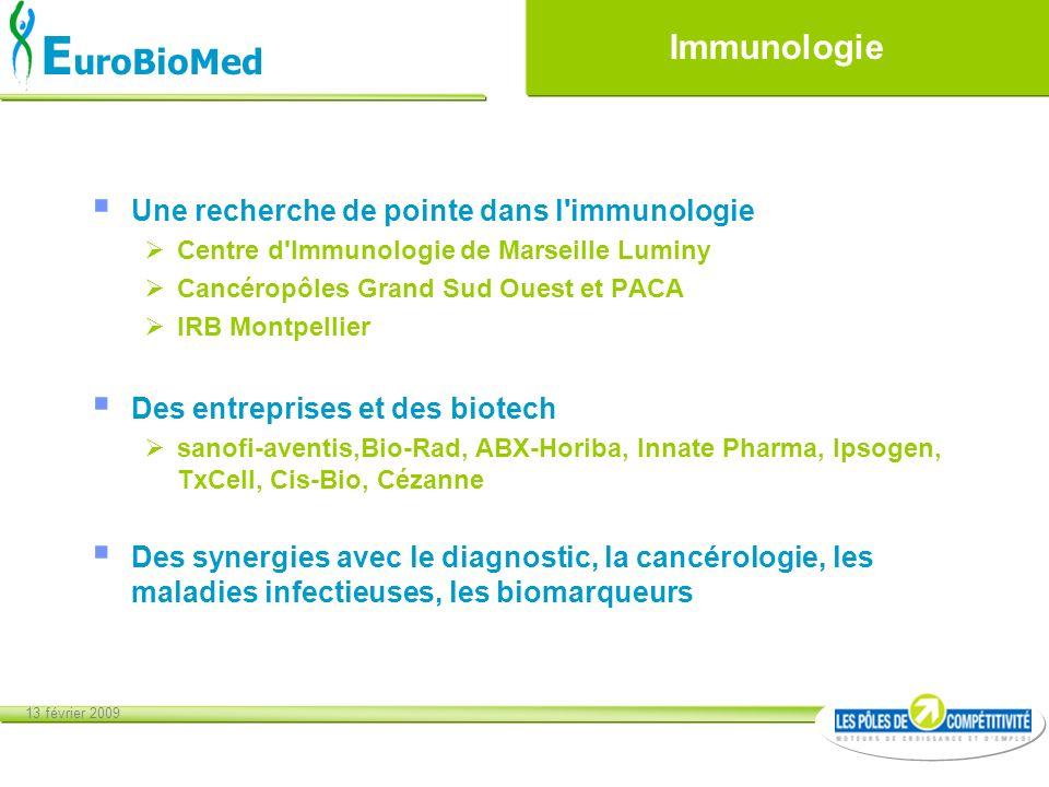13 février 2009 E uroBioMed Immunologie Une recherche de pointe dans l'immunologie Centre d'Immunologie de Marseille Luminy Cancéropôles Grand Sud Oue