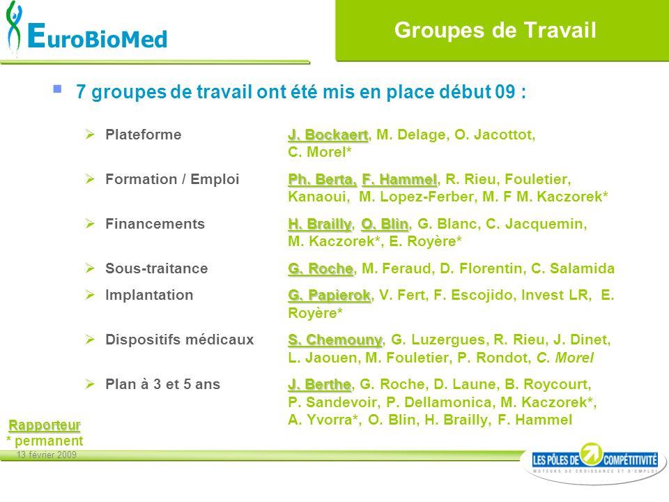 13 février 2009 E uroBioMed Groupes de Travail 7 groupes de travail ont été mis en place début 09 : J. Bockaert Plateforme J. Bockaert, M. Delage, O.