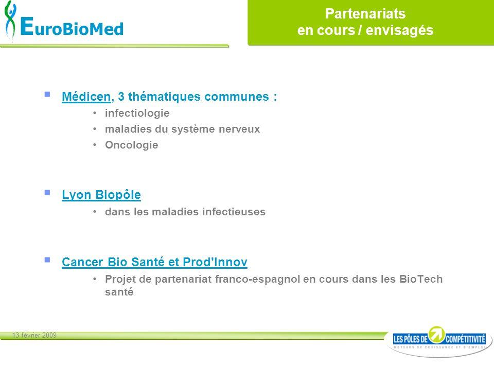 13 février 2009 E uroBioMed Partenariats en cours / envisagés Médicen, 3 thématiques communes : infectiologie maladies du système nerveux Oncologie Ly