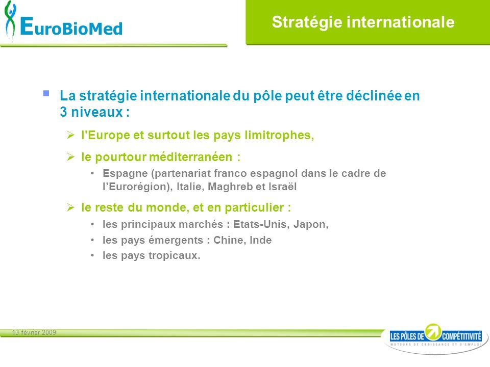 13 février 2009 E uroBioMed La stratégie internationale du pôle peut être déclinée en 3 niveaux : l'Europe et surtout les pays limitrophes, le pourtou