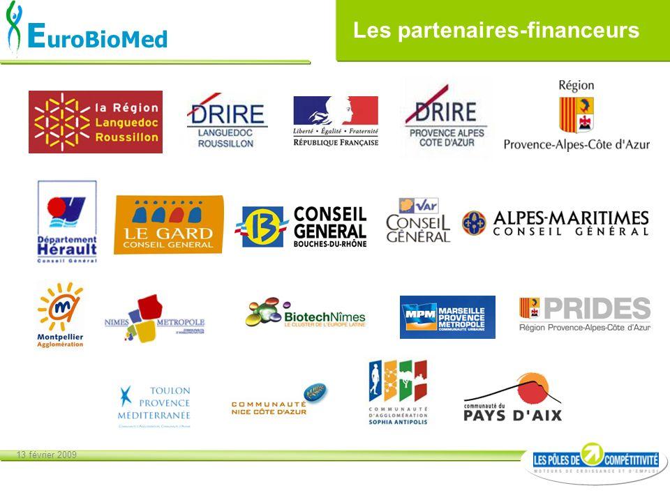 13 février 2009 E uroBioMed Les partenaires-financeurs