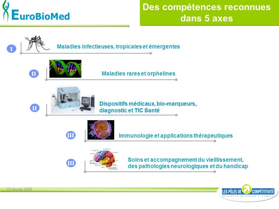 13 février 2009 E uroBioMed Soins et accompagnement du vieillissement, des pathologies neurologiques et du handicap Maladies infectieuses, tropicales