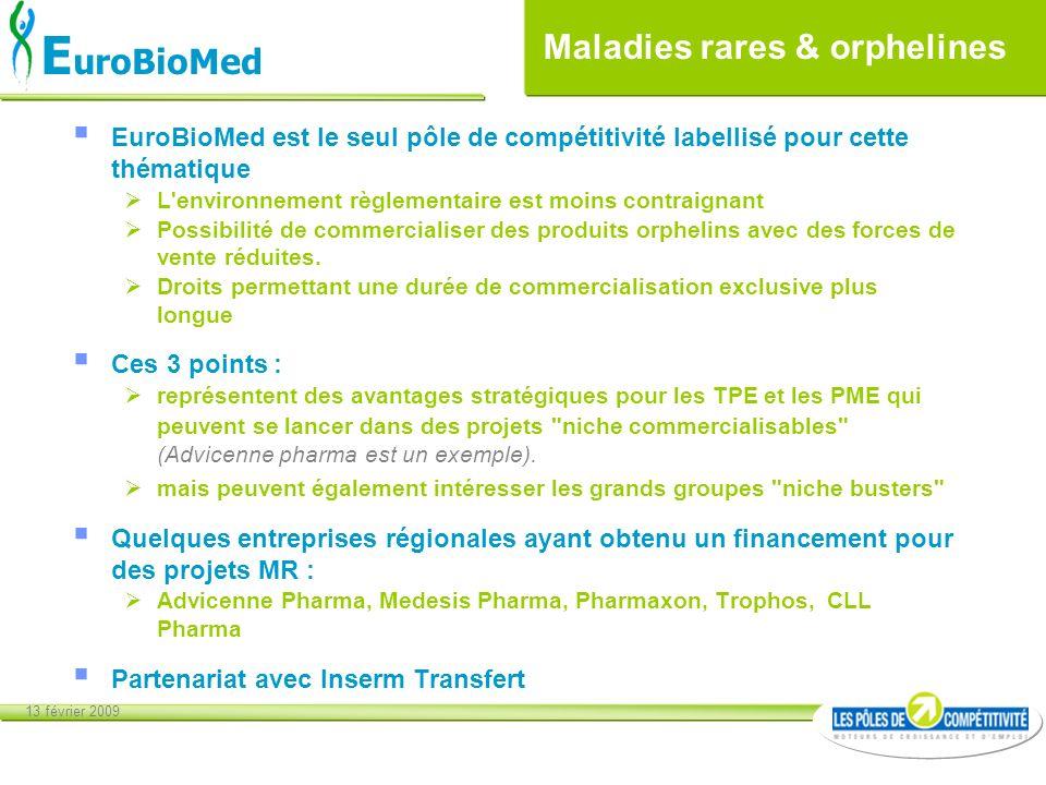 13 février 2009 E uroBioMed Maladies rares & orphelines EuroBioMed est le seul pôle de compétitivité labellisé pour cette thématique L'environnement r