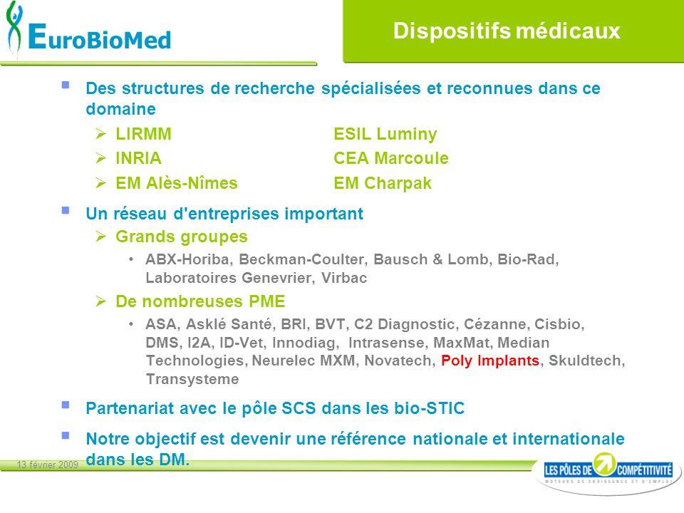 13 février 2009 E uroBioMed Dispositifs médicaux Des structures de recherche spécialisées et reconnues dans ce domaine LIRMMESIL Luminy INRIACEA Marco