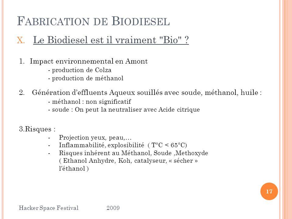 X. Le Biodiesel est il vraiment