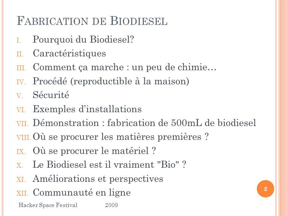 F ABRICATION DE B IODIESEL I. Pourquoi du Biodiesel? II. Caractéristiques III. Comment ça marche : un peu de chimie… IV. Procédé (reproductible à la m