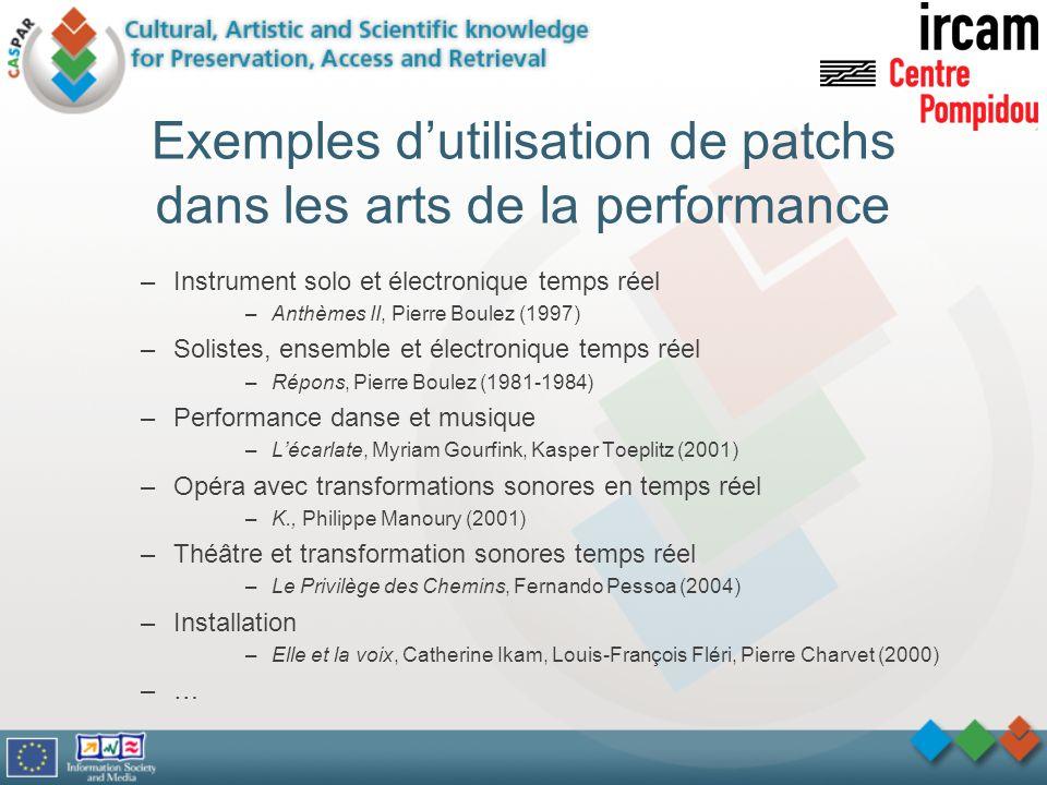 Exemples dutilisation de patchs dans les arts de la performance –Instrument solo et électronique temps réel –Anthèmes II, Pierre Boulez (1997) –Solist