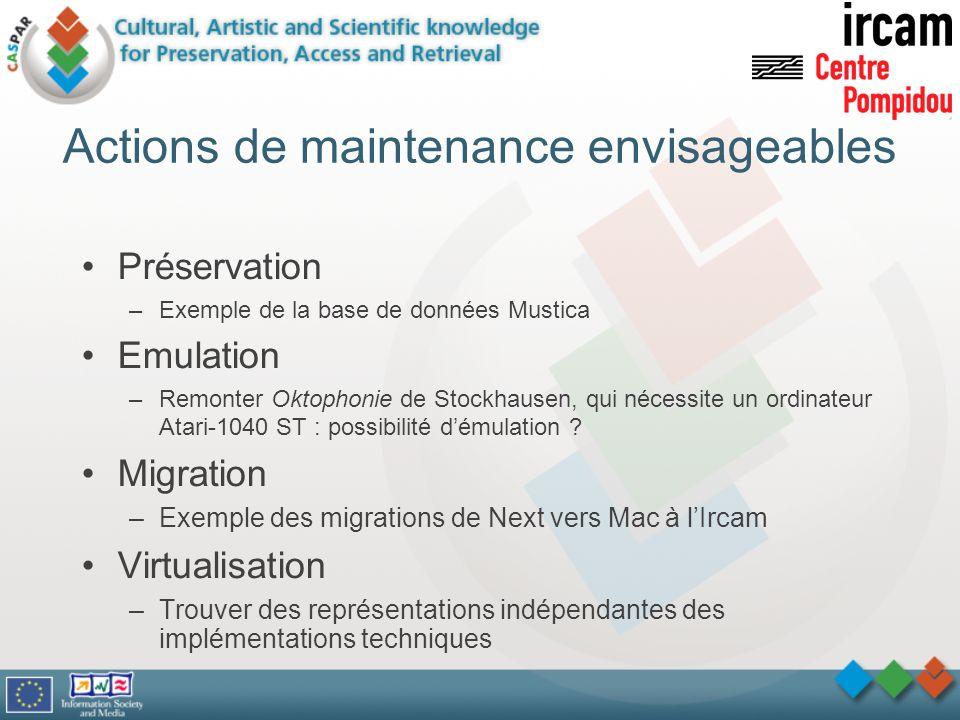 Actions de maintenance envisageables Préservation –Exemple de la base de données Mustica Emulation –Remonter Oktophonie de Stockhausen, qui nécessite