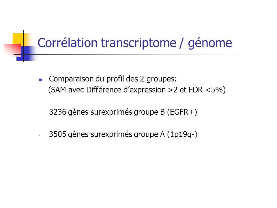 Corrélation transcriptome / génome Comparaison du profil des 2 groupes: (SAM avec Différence dexpression >2 et FDR <5%) - 3236 gènes surexprimés group
