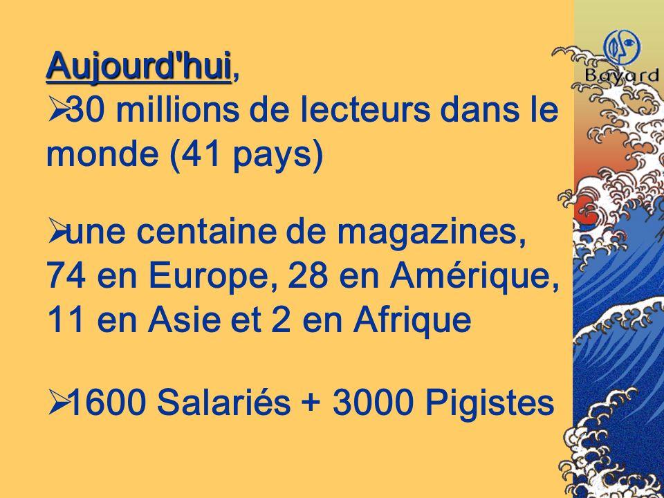 Aujourd'hui Aujourd'hui, 30 millions de lecteurs dans le monde (41 pays) une centaine de magazines, 74 en Europe, 28 en Amérique, 11 en Asie et 2 en A