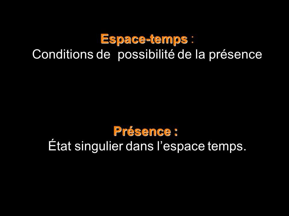 Espace-temps Espace-temps : Conditions de possibilité de la présence Présence : État singulier dans lespace temps.