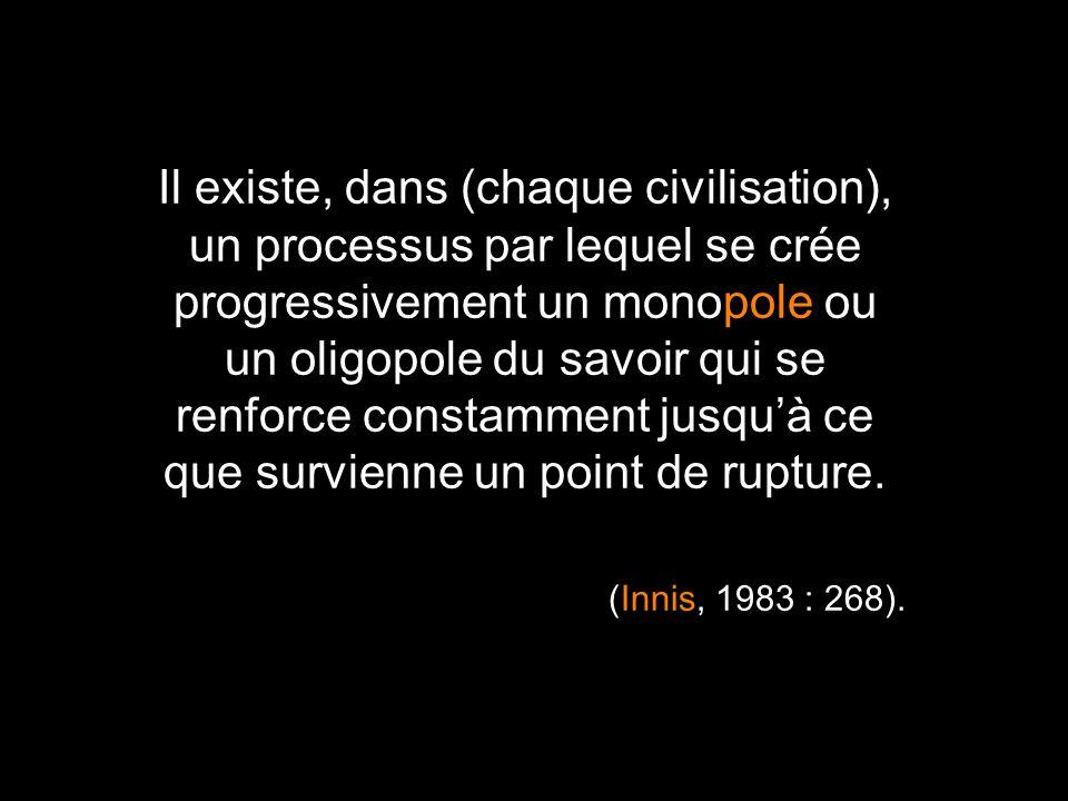 Il existe, dans (chaque civilisation), un processus par lequel se crée progressivement un monopole ou un oligopole du savoir qui se renforce constamme