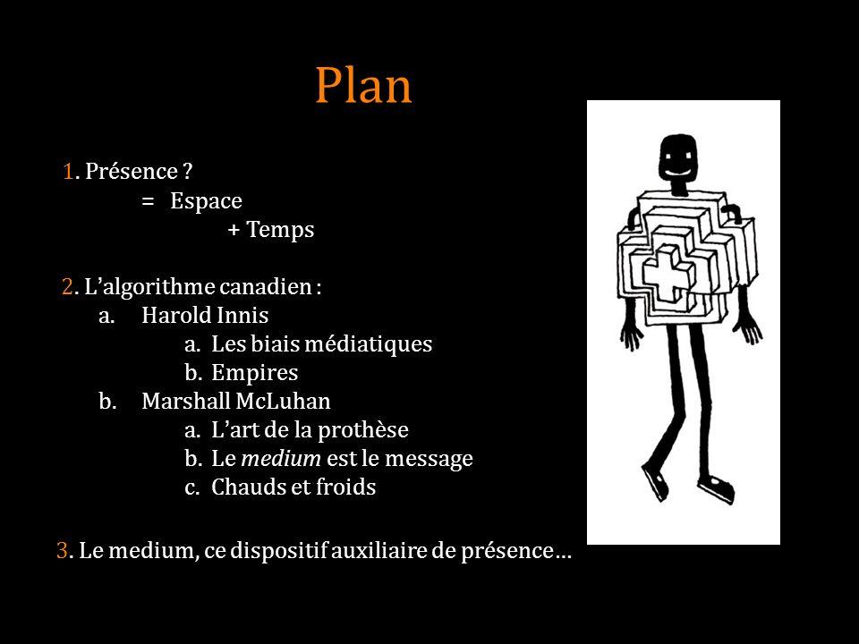 Plan 1. Présence ? = Espace + Temps 2. Lalgorithme canadien : a.Harold Innis a. Les biais médiatiques b. Empires b.Marshall McLuhan a. Lart de la prot