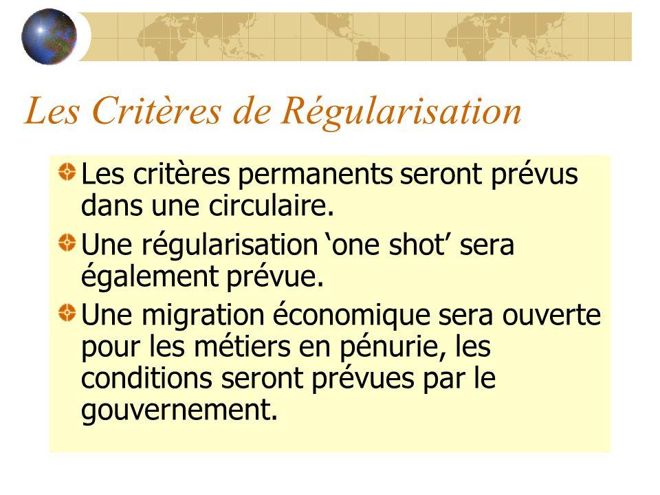 Les Critères de Régularisation Les critères permanents seront prévus dans une circulaire. Une régularisation one shot sera également prévue. Une migra