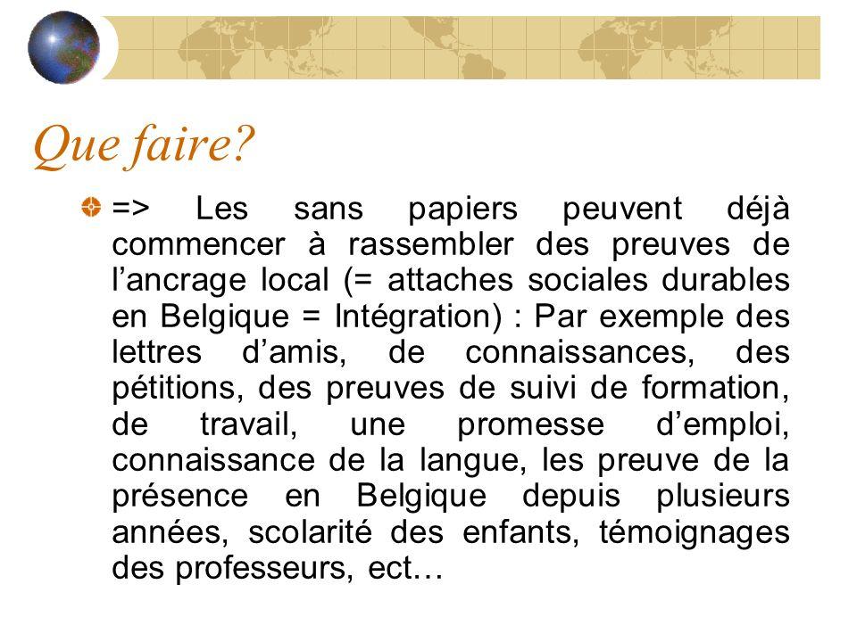 Que faire? => Les sans papiers peuvent déjà commencer à rassembler des preuves de lancrage local (= attaches sociales durables en Belgique = Intégrati