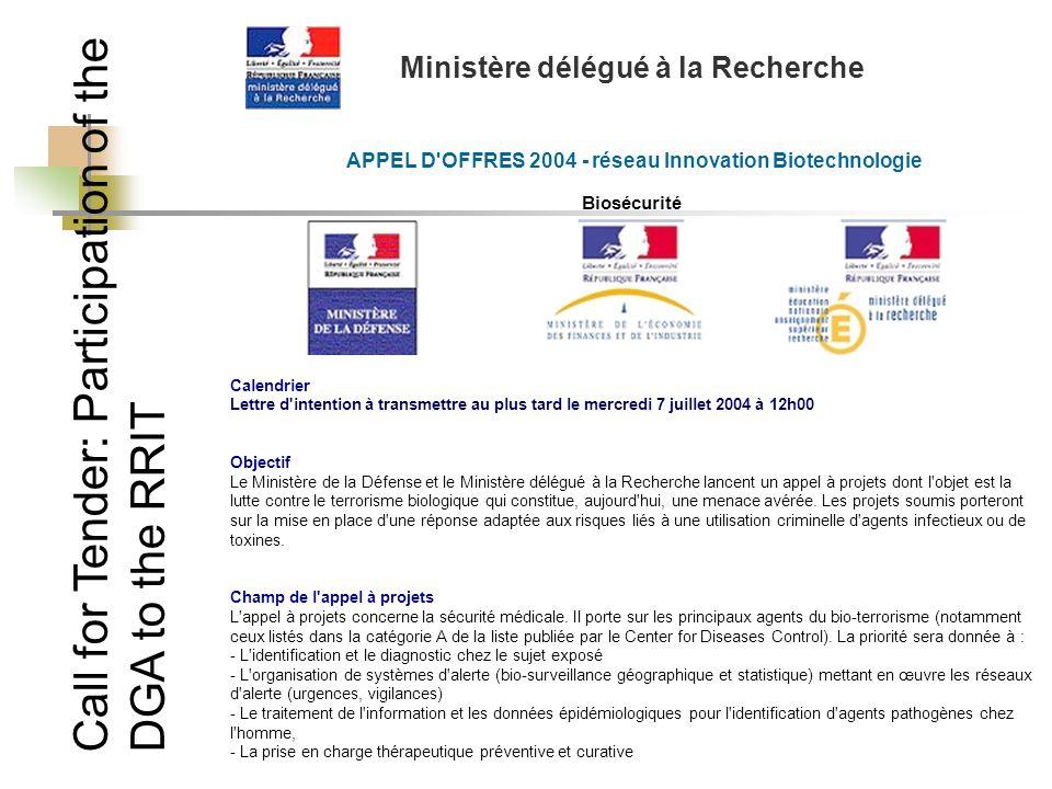 Call for Tender: Participation of the DGA to the RRIT Ministère délégué à la Recherche APPEL D'OFFRES 2004 - réseau Innovation Biotechnologie Biosécur