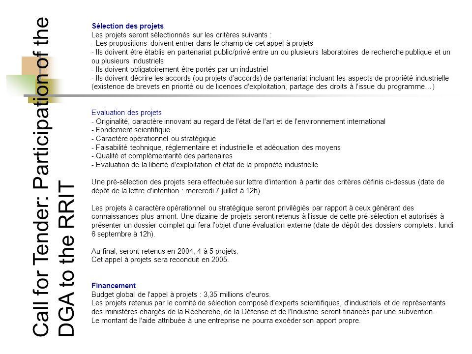 Sélection des projets Les projets seront sélectionnés sur les critères suivants : - Les propositions doivent entrer dans le champ de cet appel à proje