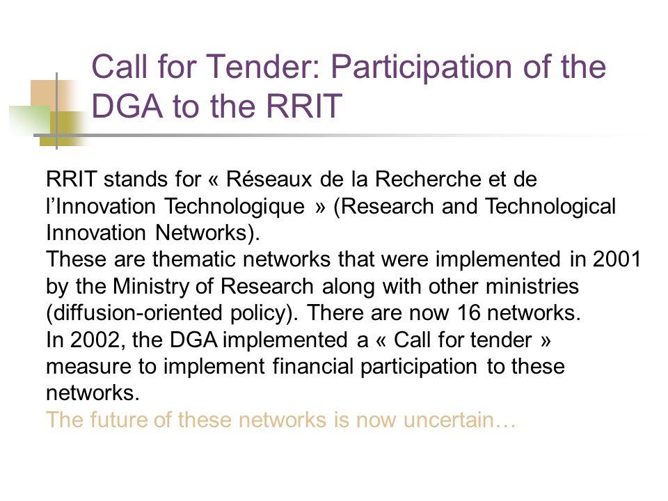 Call for Tender: Participation of the DGA to the RRIT RRIT stands for « Réseaux de la Recherche et de lInnovation Technologique » (Research and Techno