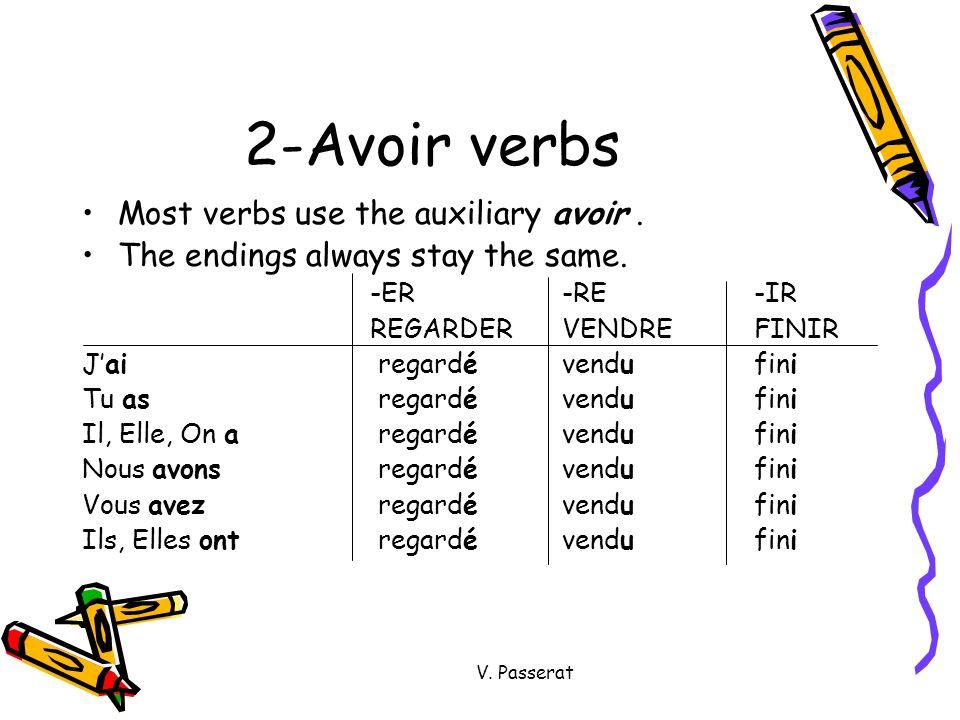 V. Passerat 2-Avoir verbs Most verbs use the auxiliary avoir. The endings always stay the same. -ER-RE-IR REGARDERVENDREFINIR Jai regardévendufini Tu