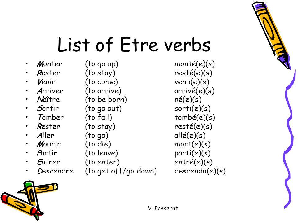 V. Passerat List of Etre verbs Monter(to go up)monté(e)(s) Rester(to stay)resté(e)(s) Venir(to come)venu(e)(s) Arriver(to arrive)arrivé(e)(s) Naître(t