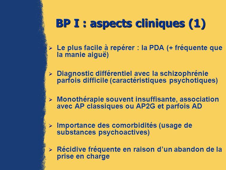 BP I : aspects cliniques (2) : lÉpisode dépressif majeur Quelquefois accès mélancolique typique de ladulte avec caractéristiques psychotiques Mais plus souvent EDM dintensité moyenne sans éléments délirants avec début précoce, et clinique marquée par lirritabilité, lhypersomnie, lhyperphagie, les troubles des conduites (gestes suicidaires, bagarres, automutilations), lagitation voire lexcitation psychique (état mixte), survenue en post- partum, caractère saisonnier