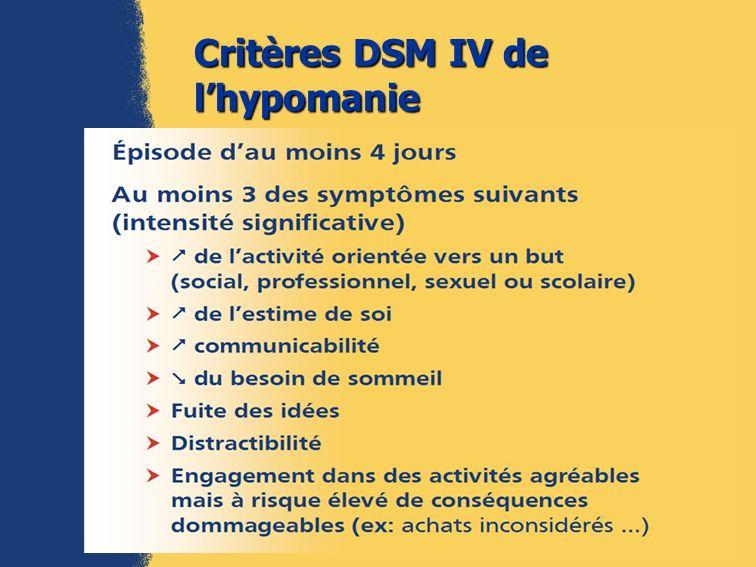 Critères DSM IV de lhypomanie (2)