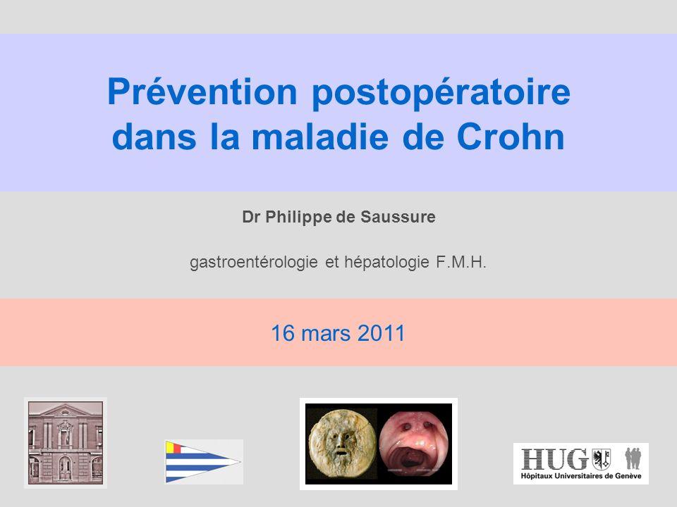 infliximab et prophylaxie de la récidive postop n = 24 patients avec anastomose iléocolique (résection iléo-caecale) Rémicade 5 mg/kg ou placebo Regueiro, GE 2009; 136: 441 % récidive endoscopique à 12 mois