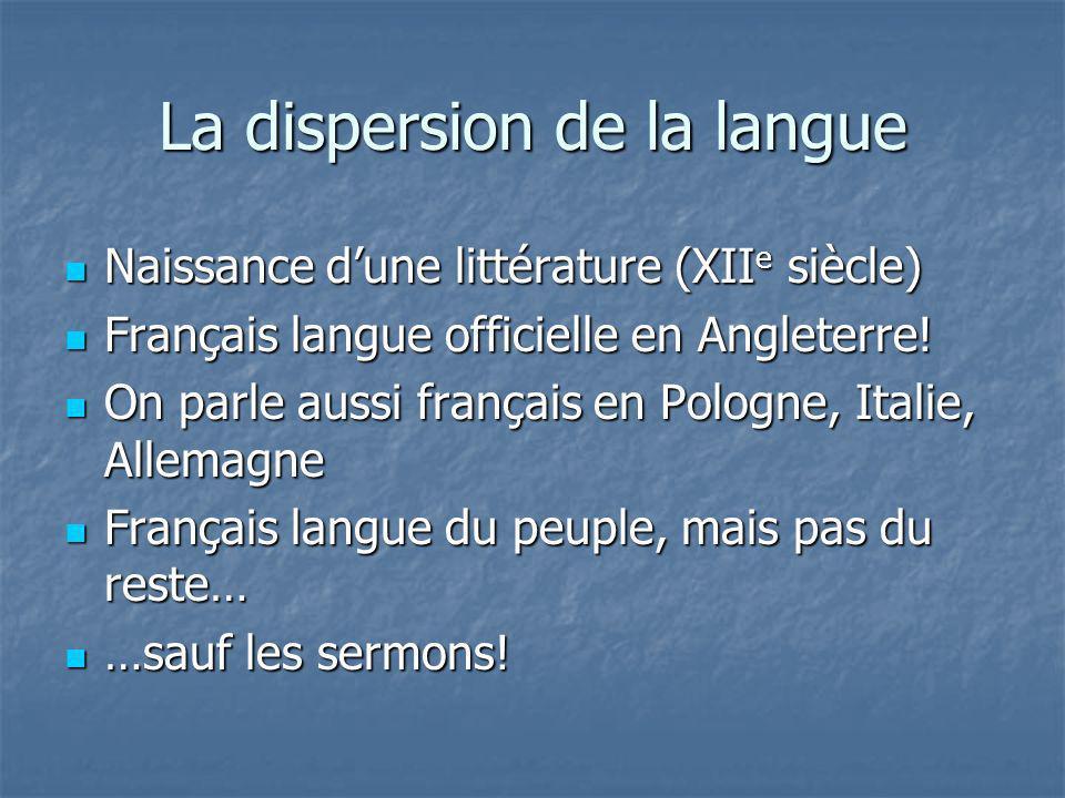La dispersion de la langue Naissance dune littérature (XII e siècle) Naissance dune littérature (XII e siècle) Français langue officielle en Angleterr
