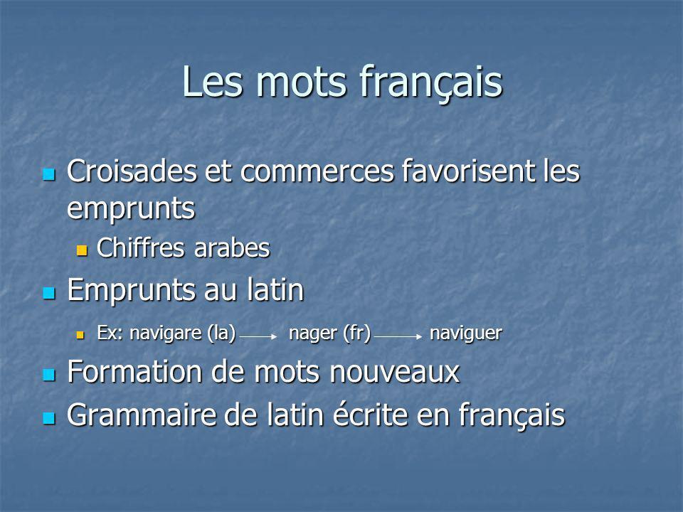 Les mots français Croisades et commerces favorisent les emprunts Croisades et commerces favorisent les emprunts Chiffres arabes Chiffres arabes Emprun