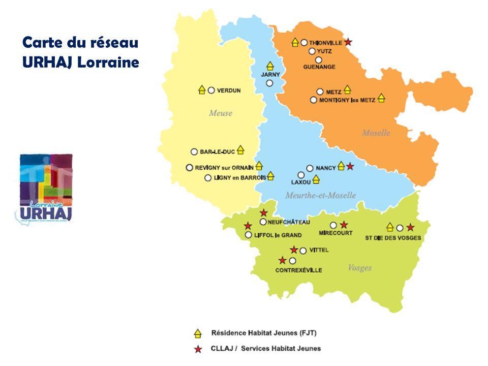 Carte du réseau URHAJ Lorraine