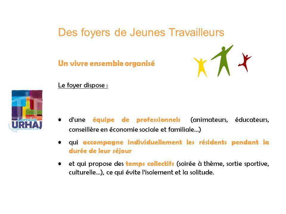 Un vivre ensemble organisé Le foyer dispose : dune équipe de professionnels (animateurs, éducateurs, conseillère en économie sociale et familiale…) qu