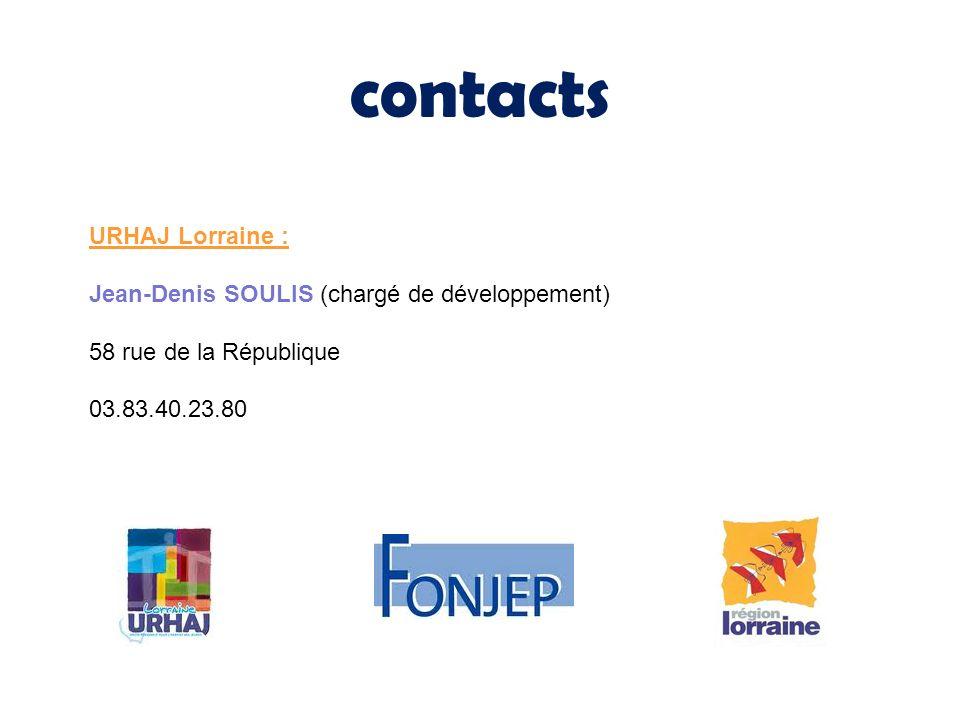 contacts URHAJ Lorraine : Jean-Denis SOULIS (chargé de développement) 58 rue de la République 03.83.40.23.80