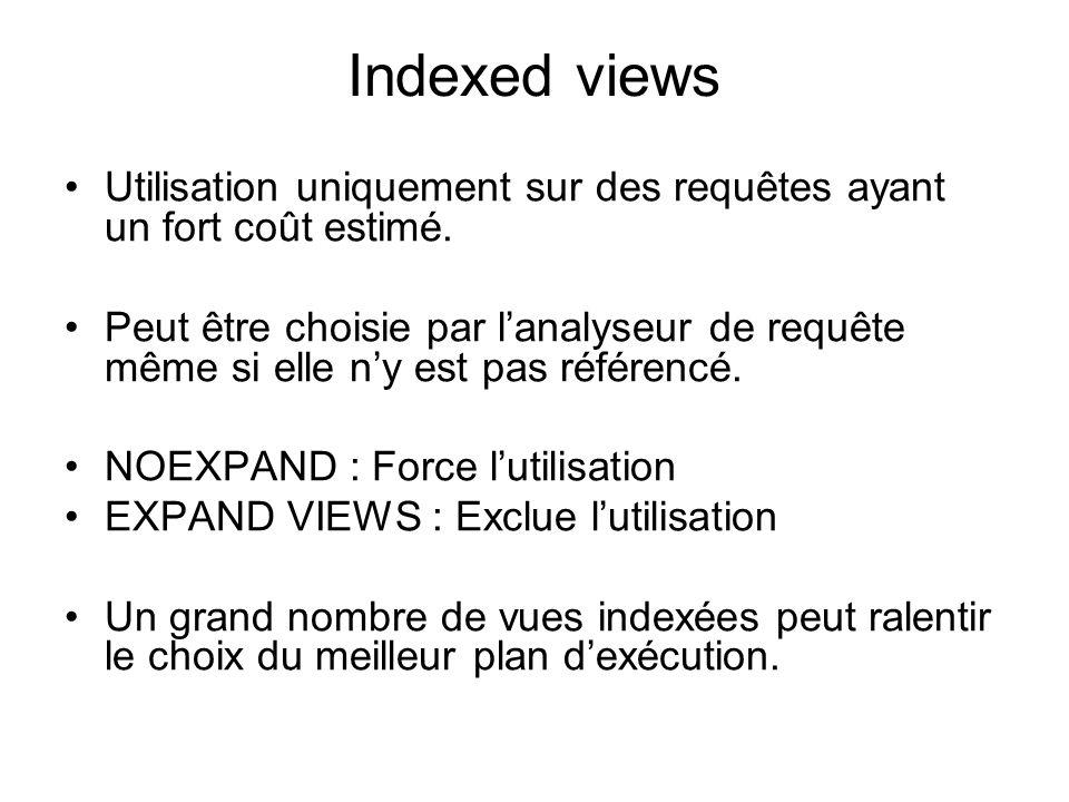 Indexed views Utilisation uniquement sur des requêtes ayant un fort coût estimé. Peut être choisie par lanalyseur de requête même si elle ny est pas r