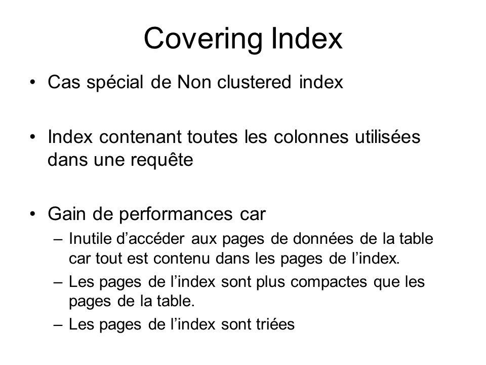 Covering Index Cas spécial de Non clustered index Index contenant toutes les colonnes utilisées dans une requête Gain de performances car –Inutile dac