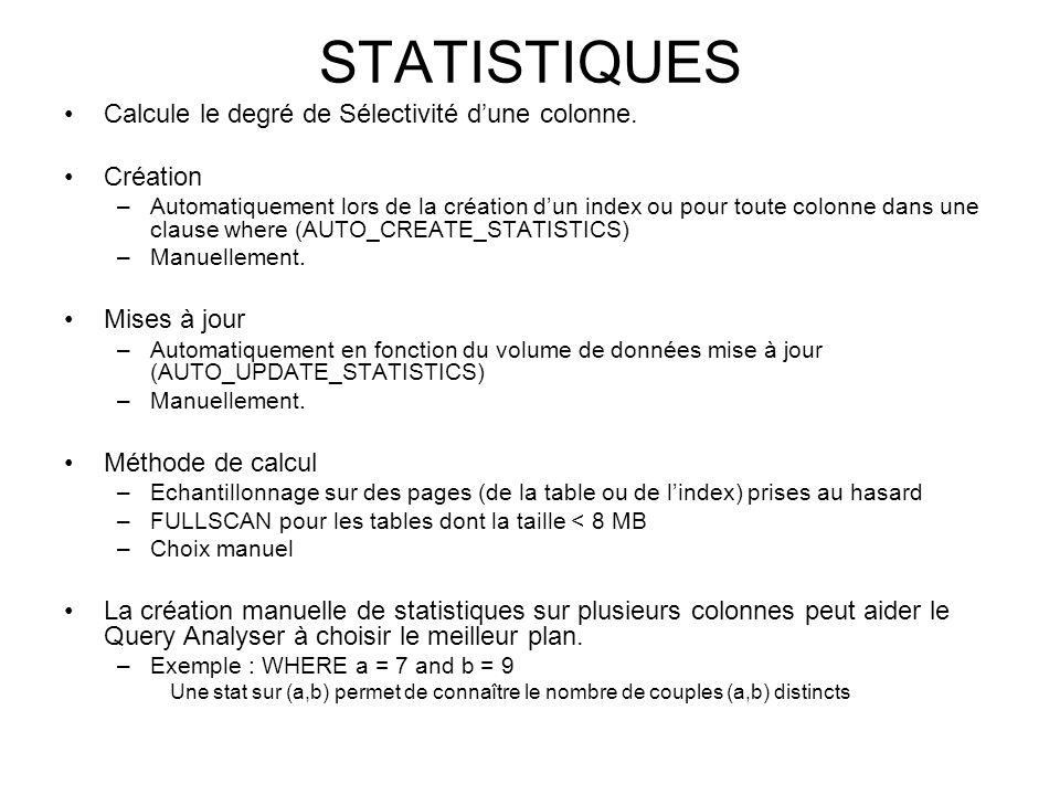 STATISTIQUES Calcule le degré de Sélectivité dune colonne. Création –Automatiquement lors de la création dun index ou pour toute colonne dans une clau