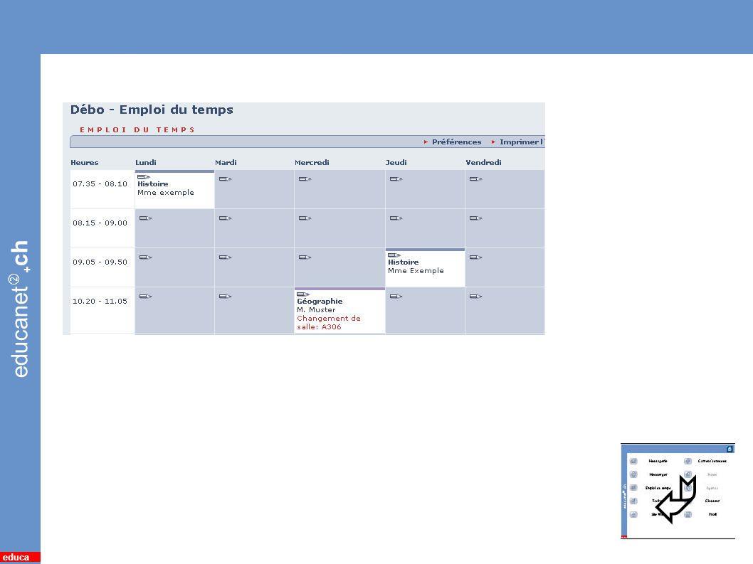 educanet + ch educa 10 *Emploi du temps