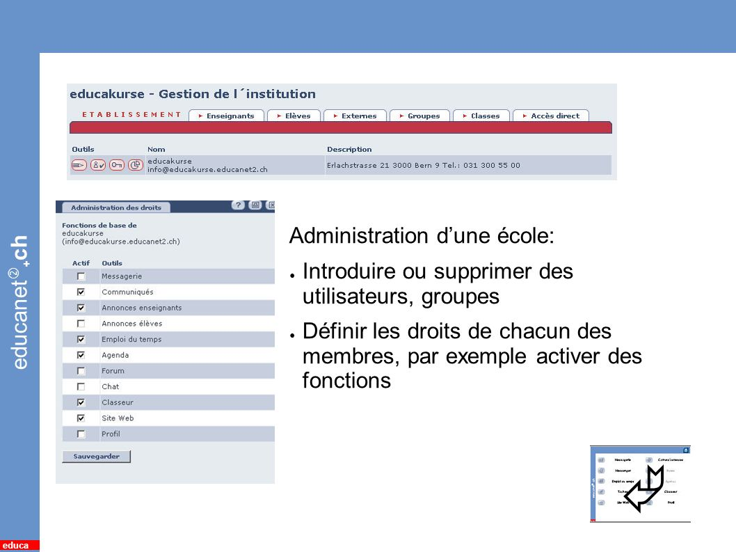 educanet + ch educa 18 *Administration Administration dune école: Introduire ou supprimer des utilisateurs, groupes Définir les droits de chacun des m