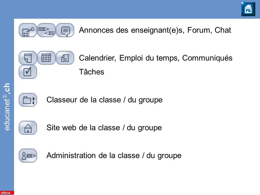 educanet + ch educa 19 Classe / Groupe Annonces des enseignant(e)s, Forum, Chat Tâches Classeur de la classe / du groupe Administration de la classe /