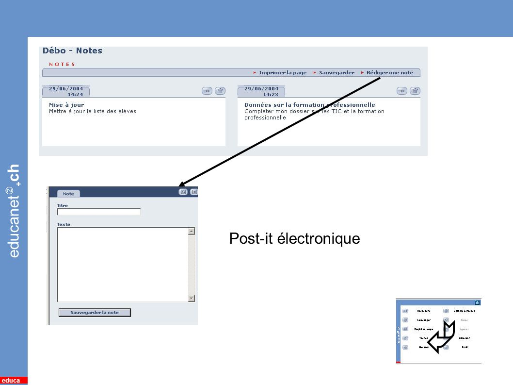 educanet + ch educa 9 *Notes Post-it électronique