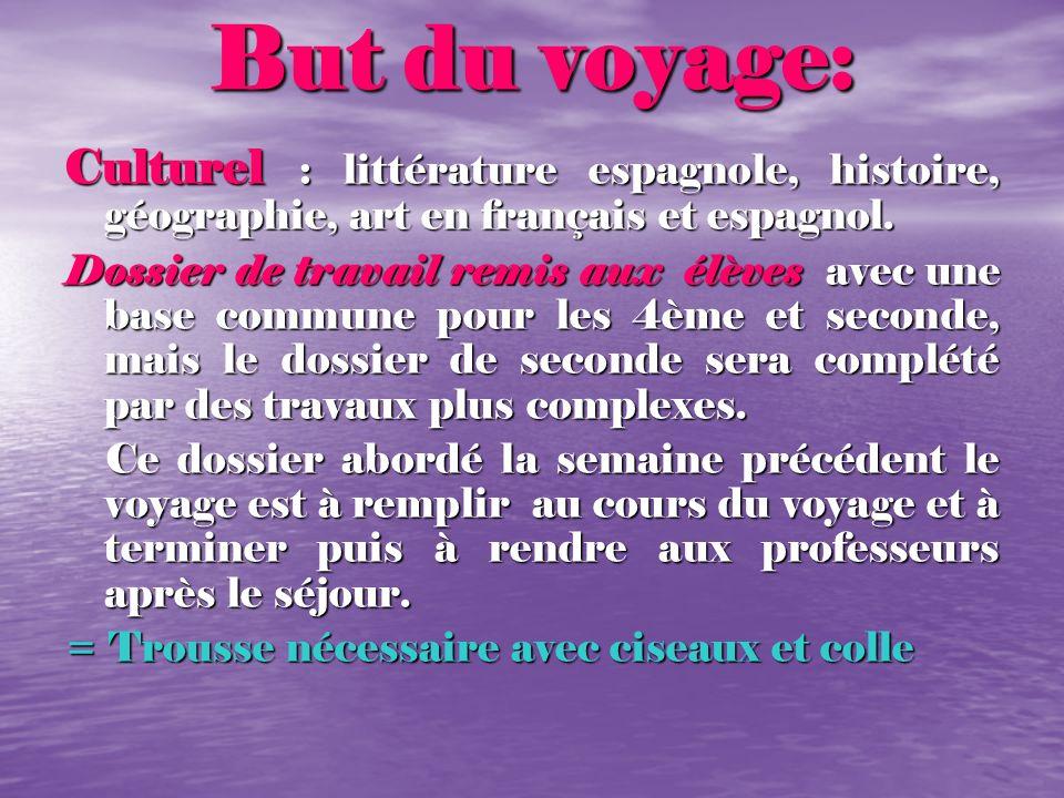 But du voyage: Culturel : littérature espagnole, histoire, géographie, art en français et espagnol. Dossier de travail remis aux élèves avec une base