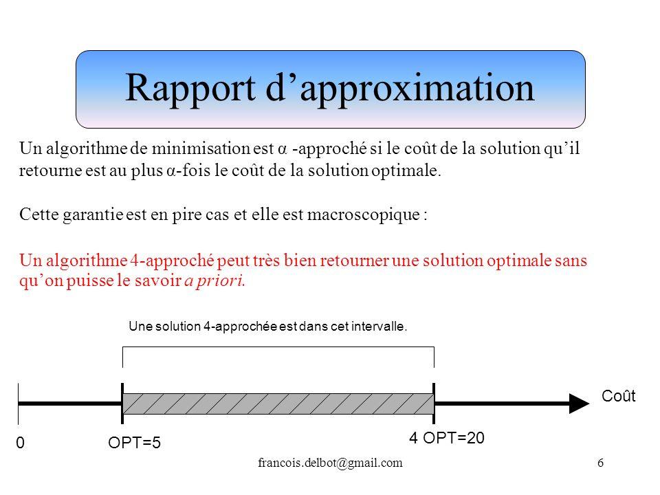 francois.delbot@gmail.com6 Rapport dapproximation Un algorithme de minimisation est α -approché si le coût de la solution quil retourne est au plus α-