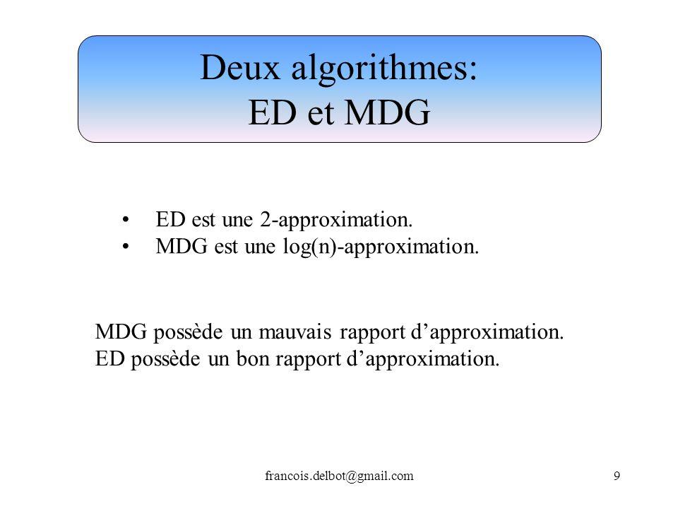 francois.delbot@gmail.com9 Deux algorithmes: ED et MDG ED est une 2-approximation. MDG est une log(n)-approximation. MDG possède un mauvais rapport da