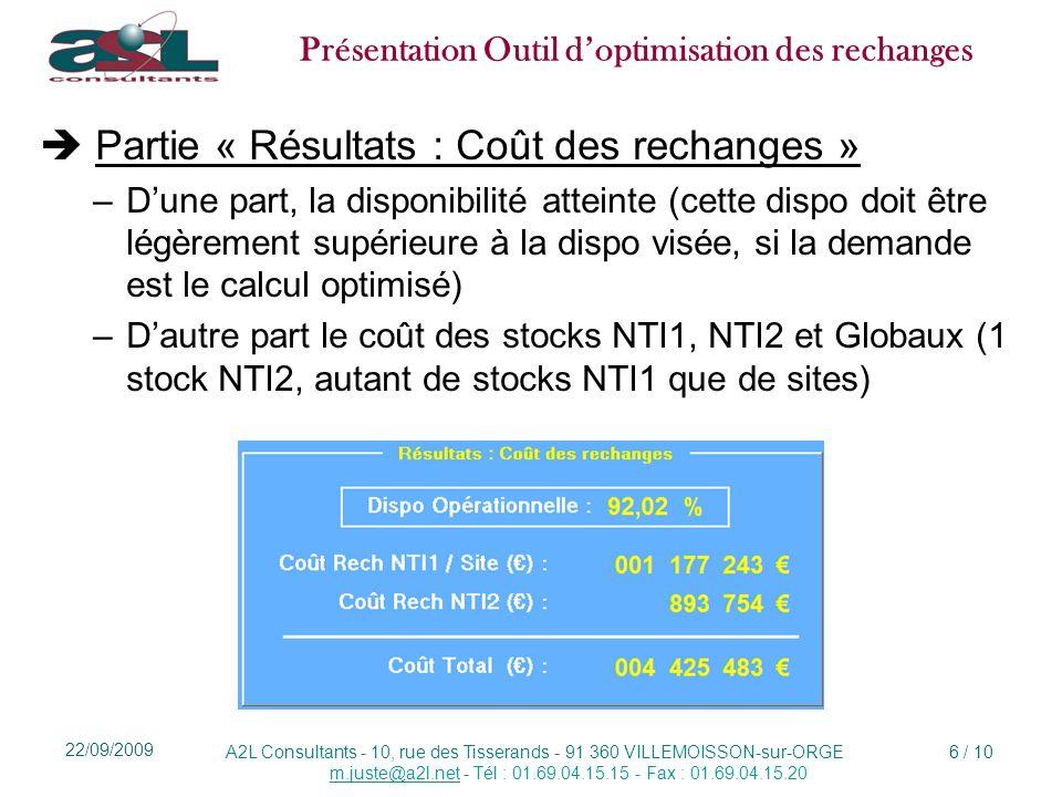 Présentation Outil doptimisation des rechanges A2L Consultants - 10, rue des Tisserands - 91 360 VILLEMOISSON-sur-ORGE m.juste@a2l.netm.juste@a2l.net