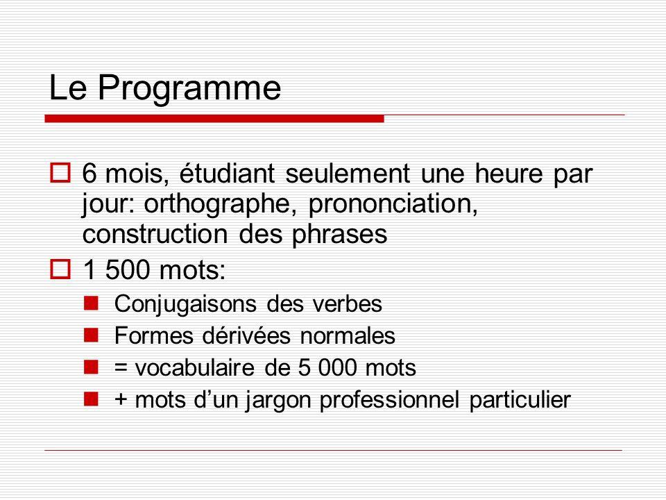 Le Programme 6 mois, étudiant seulement une heure par jour: orthographe, prononciation, construction des phrases 1 500 mots: Conjugaisons des verbes F