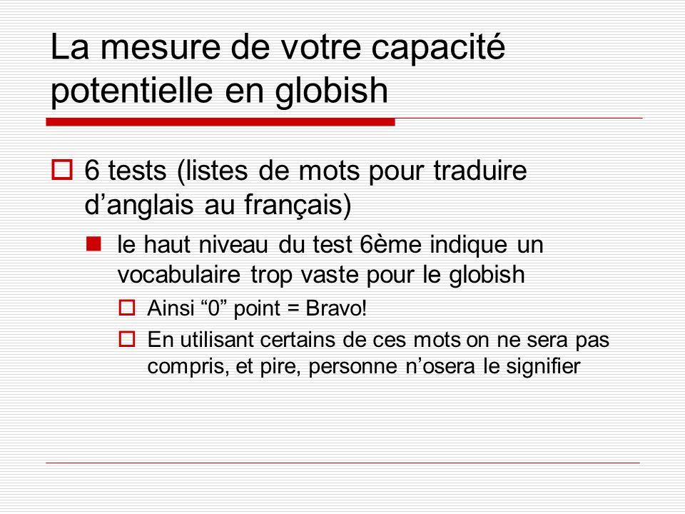 La mesure de votre capacité potentielle en globish 6 tests (listes de mots pour traduire danglais au français) le haut niveau du test 6 è me indique u